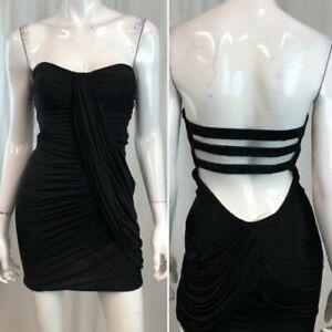 Bebe Strapless Draped Open-Back Mini Dress